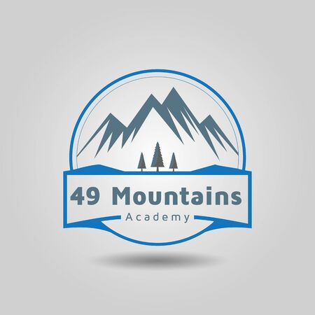 Mountain nature academy logo free vector Illustration