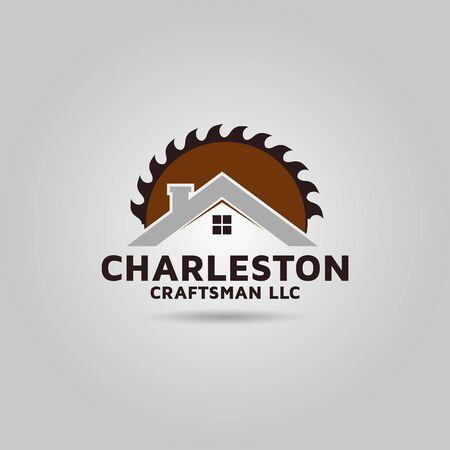 Wood cutter machine modern vector logo design.
