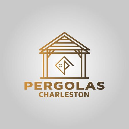Building pergola logo design inspiration Stock Photo