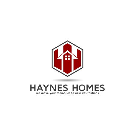 Logo with house property management vector design with Letter H