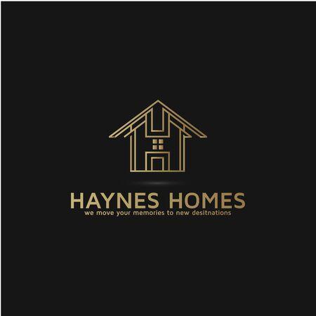 Mortgage realty building logo design letter H