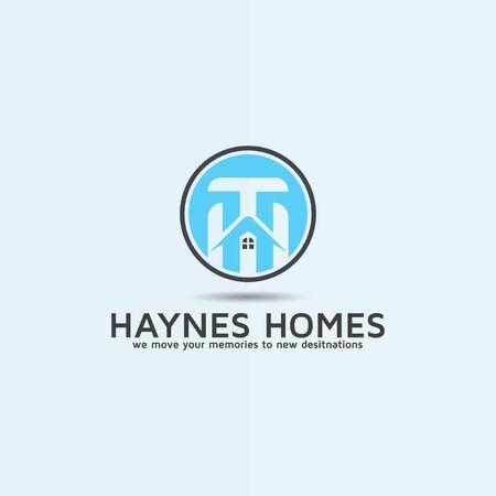 Modern Real estate home building logo design with Letter HT
