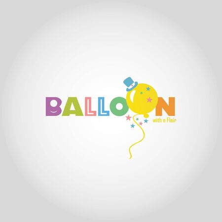 Balloon vector logo design template.Holiday card with colorful balloons, multicolored confetti and pennants. Happy Birthday image. Illustration can be used for holiday design, cards, websites, posters and banners.