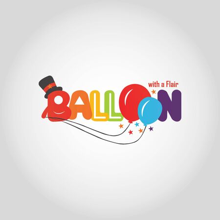 Balloon vector modern logo design template . Holiday card with colorful balloons, multicolored confetti and pennants. Happy Birthday image. Illustration can be used for holiday design, cards, websites, posters and banners.
