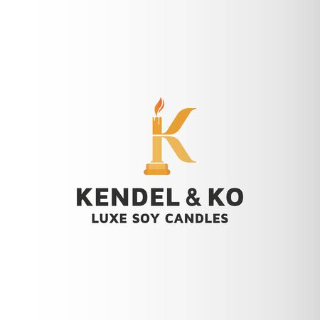 Candle letter K logo design. This is custom logo template. Vector logo files included in this download
