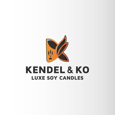 Candle letter K modern logo design . This is custom logo template. Vector logo files included in this download Banco de Imagens