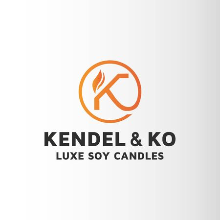 Candle letter K logo design inspiration . This is custom logo template. Vector logo files included in this download