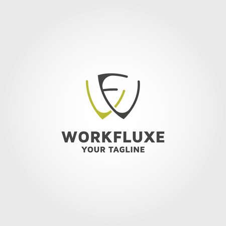 Modern Letter WF vector logo design