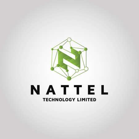 Networking logo, letter vector design