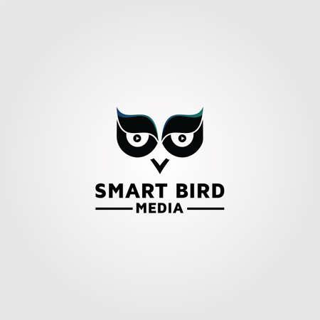 Owl logo design, photography media vector template 03 矢量图像