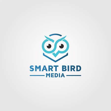 Owl logo design, photography media vector template 04