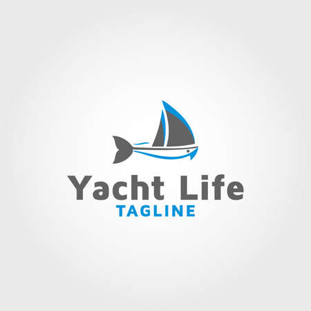 Fishing boat vector design template Vektorové ilustrace