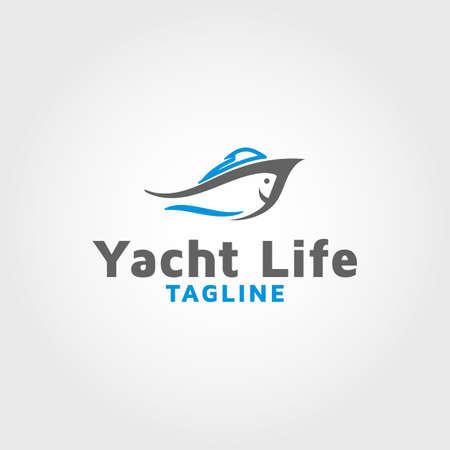 Fishing boat vector design template