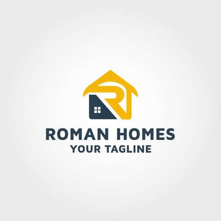 Real estate letter R vector design