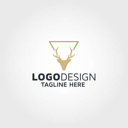 deer head logo design idea Stock Illustratie