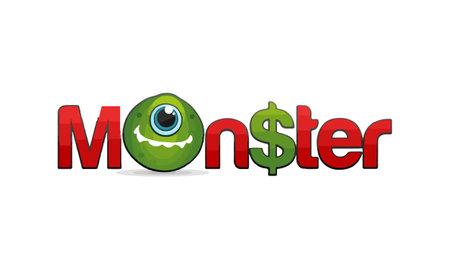 Monster lettering design with dollar sign, t shirt and letter logo design