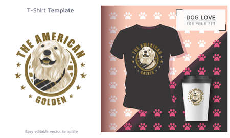 American golden pet t-shirt, Cool Dog Owner Gift. Funny Dog T-Shirt.