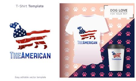American dog t-shirt, Cool Dog Owner Gift. Funny Dog T-Shirt. Çizim