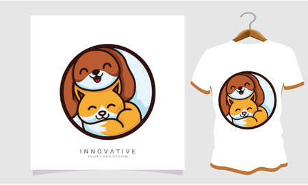 Dog and cat love each other, , Dog T Shirt Images, Stock Photos and Vectors