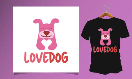 Dog holding a love icon, Dog T Shirt Images, Stock Photos and Vectors