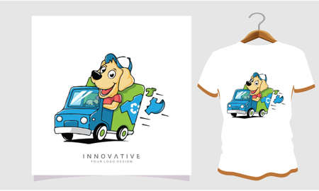 The dog is driving and cleaning dirty clothes, Dog T Shirt Images, Stock Photos and Vectors