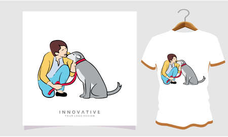 A dog lover is caressing his dog, Dog T Shirt Images, Stock Photos and Vectors