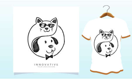 The cat is wearing glasses and the dog is under her, Dog T Shirt Images, Stock Photos and Vectors