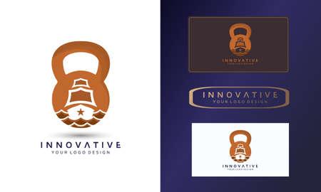 Marine logo design, shipping board icon, dumbbell vector image, symbol vector illustration design template