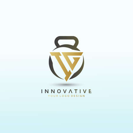 Letter IG vector logo design with dumbbell icon, Fitness Logo Images, Stock Photos & Vectors Logo