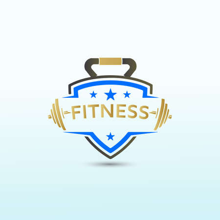 Physical fitness template idea with dumbbell icon, Fitness Logo Images, Stock Photos & Vectors