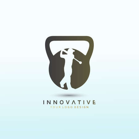 Golf fitness logo with dumbbell icon, Fitness Logo Images, Stock Photos & Vectors