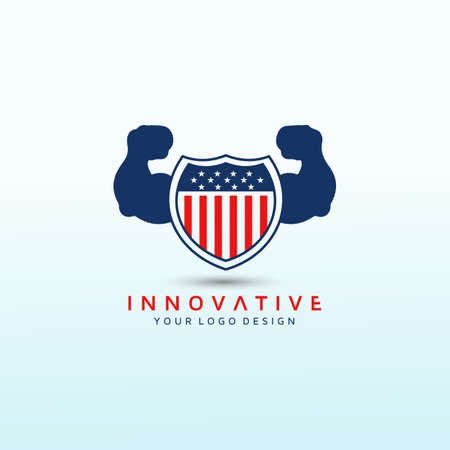 American flag with heavy arm vector logo image, Fitness Logo Images, Stock Photos & Vectors