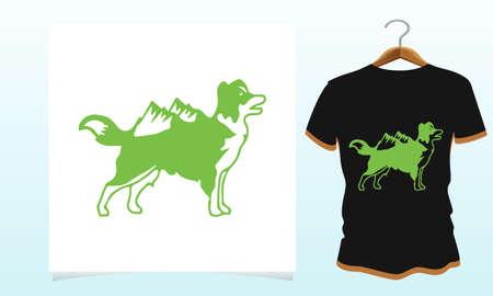 Dog mountain vector template t-shirt design, Dog t shirt Vector Graphics