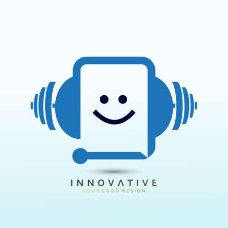 Phone icon and customer care fitness logo design, Dumbbell icon, Gym Fitness Logo Images and Vectors, Stock Photos