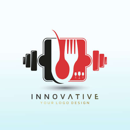 restaurant fitness logo design, Dumbbell icon, Gym Fitness Logo Images and Vectors, Stock Photos