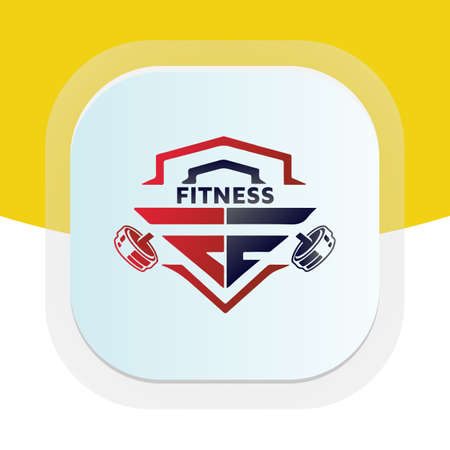 Letter PE with dumbbell icon. Physical fitness vector logo design.