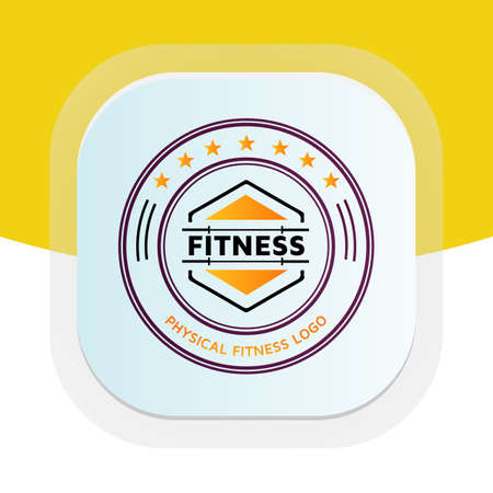 Cross-fit gym training with dumbbell icon. Physical fitness vector logo design.