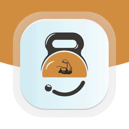 Fitness trainer with dumbbell icon. Physical fitness vector logo design.