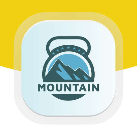 Mountain design with dumbbell icon. Physical fitness vector logo design. Logos