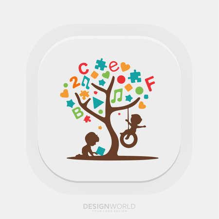Play Therapy for children vector logo design idea. Logo
