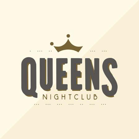 queen club vector logo design template
