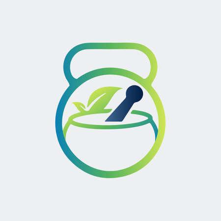 Restoring Health with fitness dumbbell icon vector logo design Logo