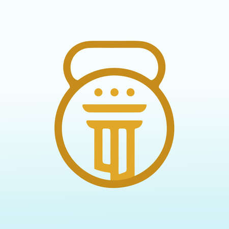 law firms with fitness dumbbell icon vector logo design.