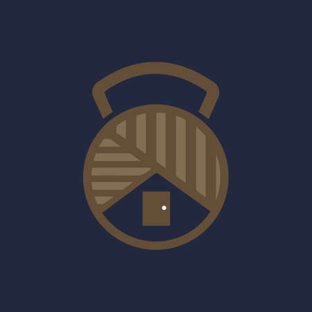 wood buildings with fitness dumbbell icon logo design