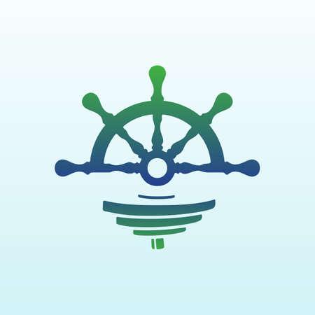 Marine vector logo design with fitness icon