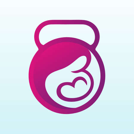 pregnancy care vector logo design with fitness icon
