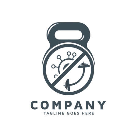 Covid with fitness apparel vector template download logos. Logos