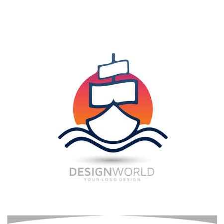 sailing instruction vector logo design idea.