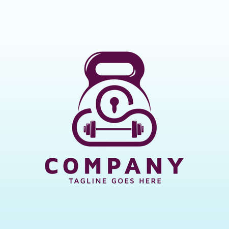 cloud based cyber security logo design with fitness gym icon
