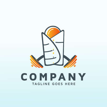 Egg Breakfast logo design with fitness icon